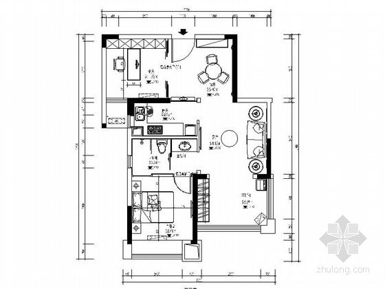 [湖北]温馨舒适一居室室内设计CAD施工图(含效果图)