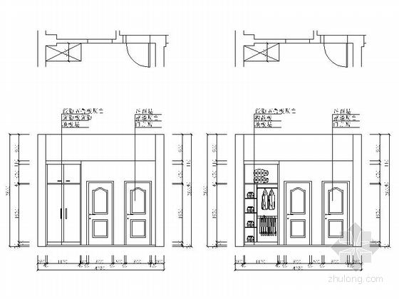 现代高档复式样板间装修施工图(含效果)次卧立面图