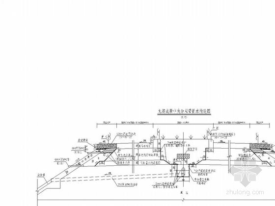 双向四车道高速公路路基路面排水设计图27张(边沟急流槽集水井)-无超高段中央分隔带排水构造图