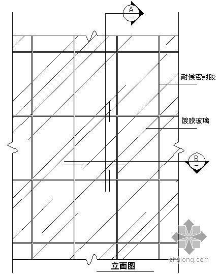 某吊挂式玻璃幕墙节点构造详图(九)(立面图)