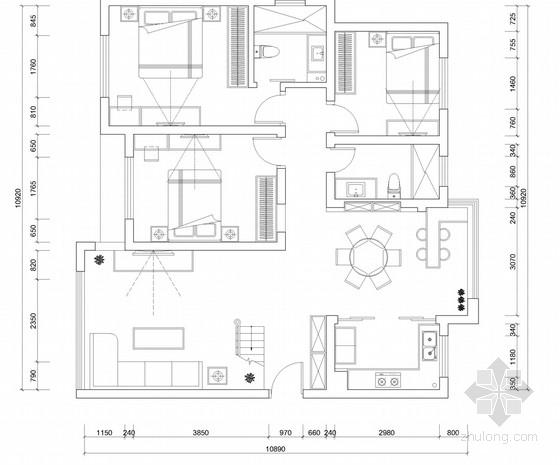 精品豪华欧式风格两层小别墅室内装修施工图
