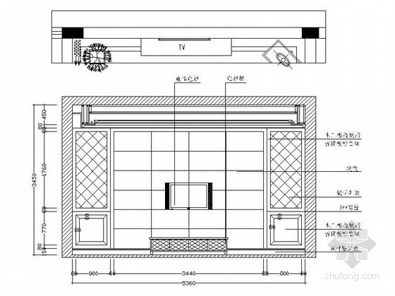 [江西]风景名胜区现代风格三层别墅装修施工图客厅立面图