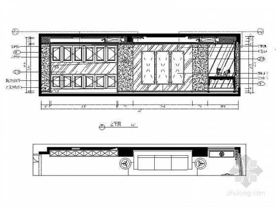 [福州]现代风格130平三居室装修图(含效果)客厅立面图