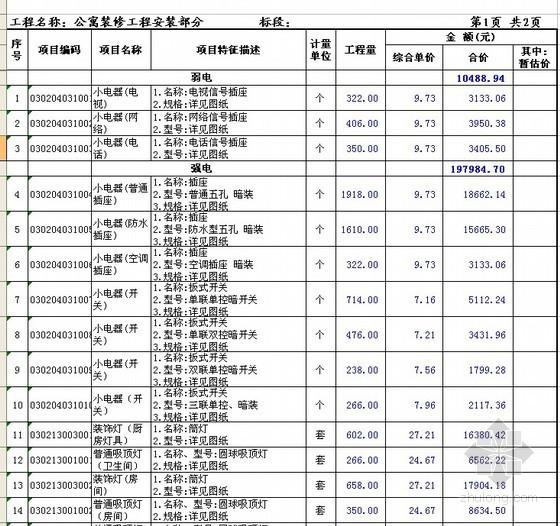 [江苏]18层公寓精装修工程投标报价书(含安装工程)附图纸