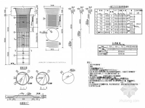 特大下承式钢结构系杆拱桥下部结构施工图(21张 桥墩 桩基)