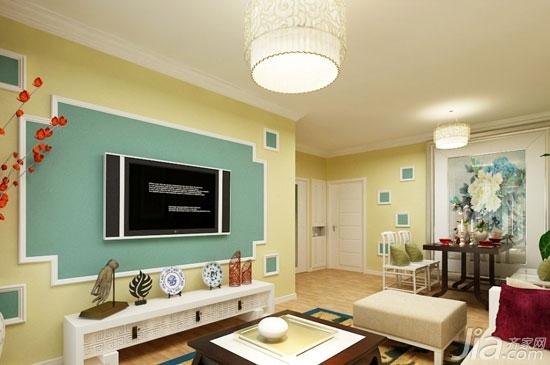客厅背景墙也爱耍大牌你家客厅hold住吗?-薄荷绿色和暖黄色打造出一个温馨明媚的客厅。这样的客厅背景墙没有太多花哨的形式,简约中透露出温馨的美好。