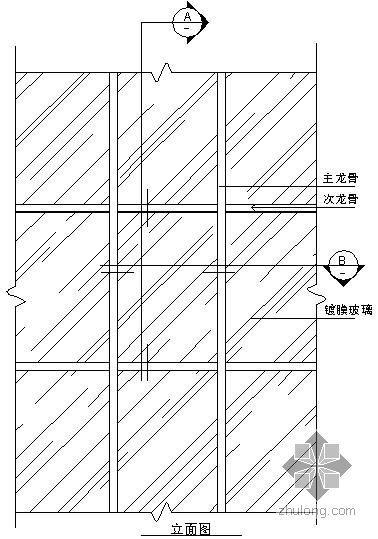 某吊挂式玻璃幕墙节点构造详图(五)(立面图)