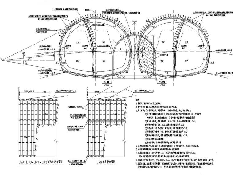 城市道路拱形结构隧道工程施工图设计225张(含计算书)