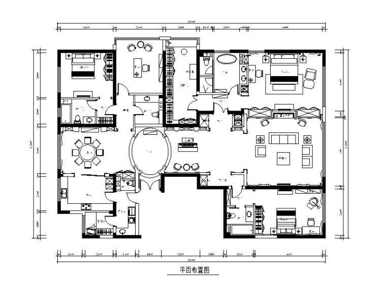 [北京]现代风格样板间设计CAD施工图(含效果图)