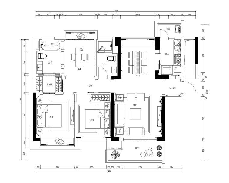新古典风格三居室施工图设计(附3D模型+效果图)