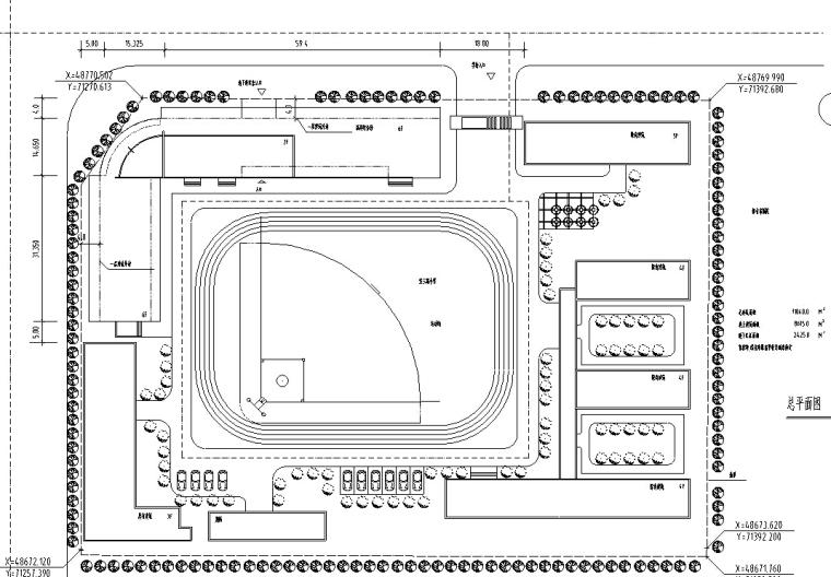 小学建筑设计初设图CAD-小学建筑设计总平面图