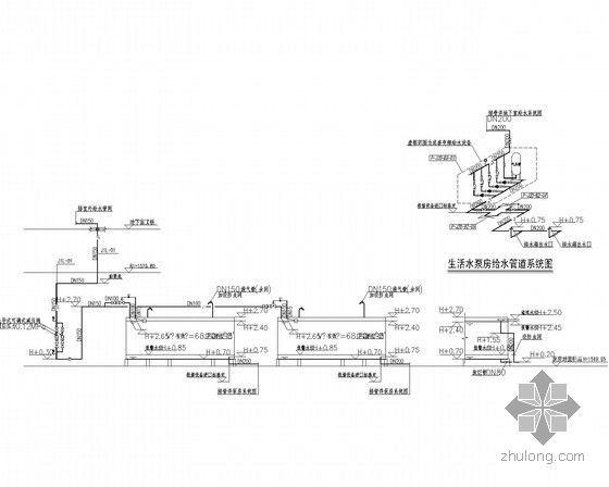 [四川]34万平超高层综合体给排水消防施工图(七氟丙烷气体灭火冷凝水循环系统)-住宅生活水箱给水系统展开图