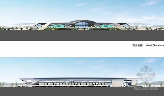 现代风格高铁站建筑设计立面图