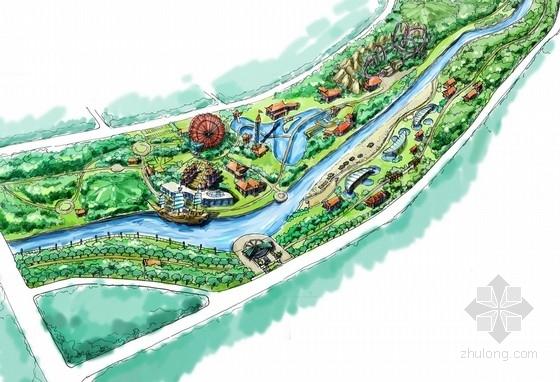 [广西]缤纷多彩滨水百里景观长廊景观规划设计方案-分区平面图