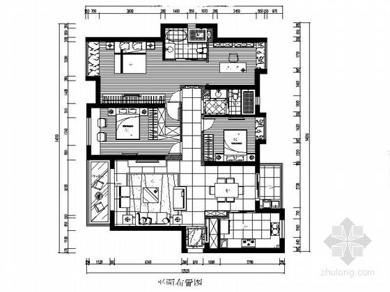 [宁波]现代四居室住宅室内装修施工图(含效果)