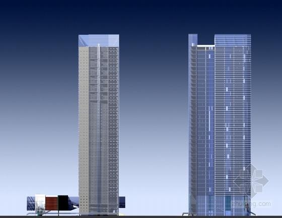 [广东]现代风格超高层商务办公建筑设计方案文本(含CAD)-现代风格超高层商务办公建筑立面图
