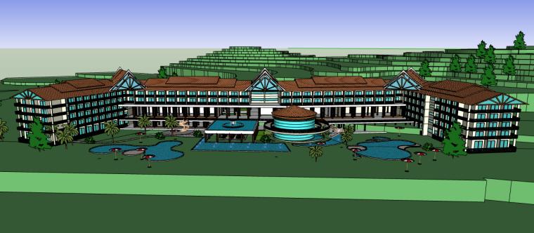东南亚风城市酒店SU模型