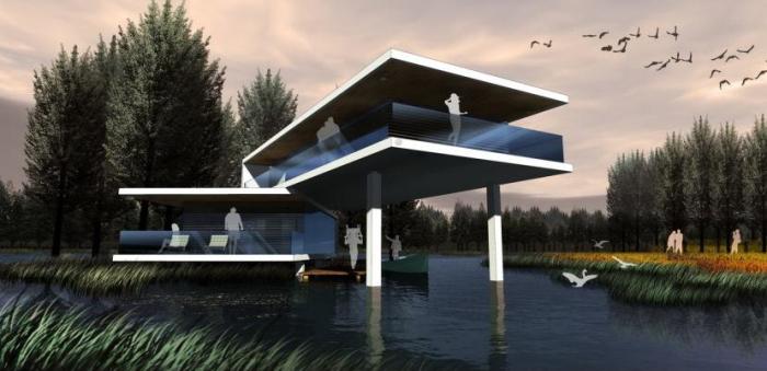 [上海]湿地台地田园景观农业观光园旅游度假村景观规划设计-别墅效果图