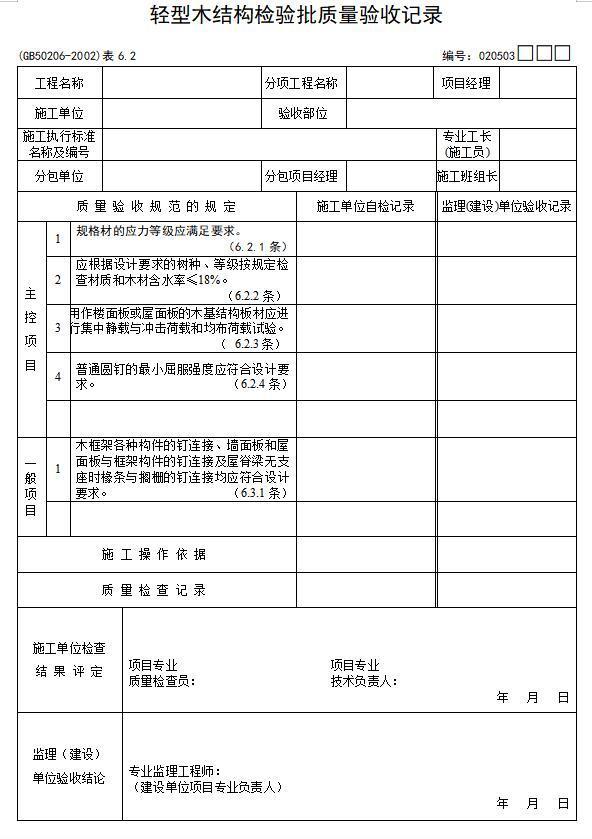 建筑工程施工质量验收规范检验批检查表(完整版)-轻型木结构检验批质量验收记录