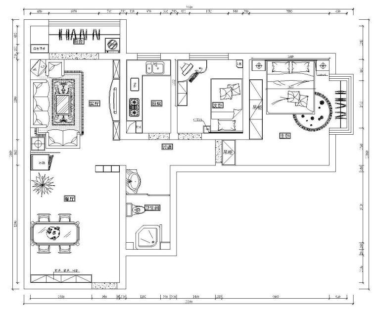 现代风格两居室施工图设计(附高清效果图)