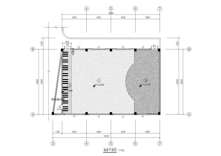 小学演奏厅装施-地面平面图