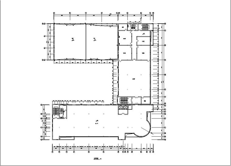 5套商务办公楼建筑设计施工图CAD-多层办公综合楼建筑设计平面图2