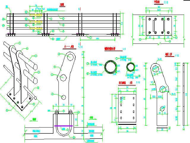 [河北]钢混组合结构斜塔空间扭索双索面斜拉桥上部结构及附属工程图纸202张