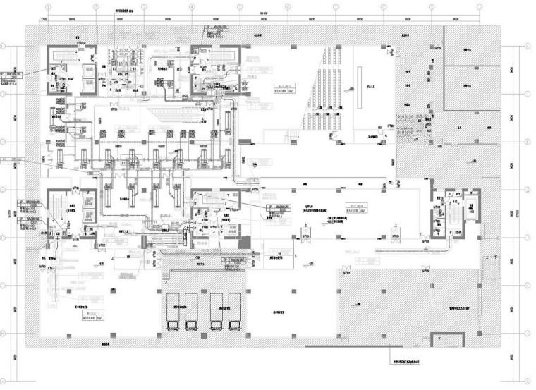 [江苏]高层文化图书馆空调通风及消防排烟系统施工图(冷热源机房)
