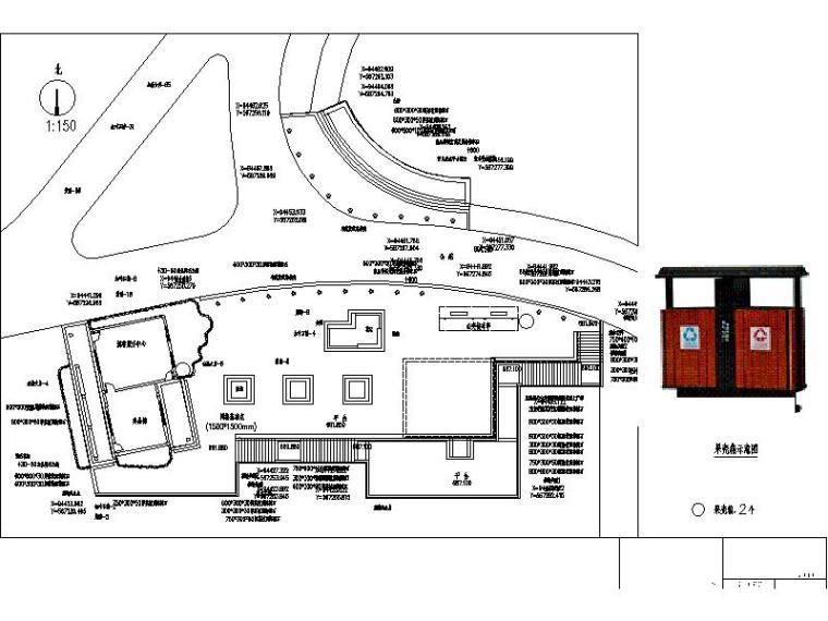 [浙江]山地公园景观设计施工图(2016年最新独家)-公共厕所区其他设施布置平面图