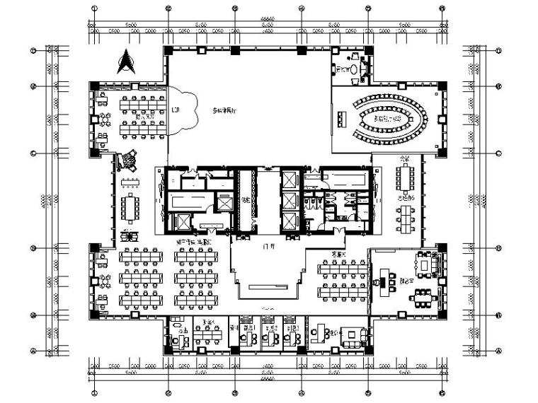 [深圳]精致典雅中式风办公室室内设计施工图(含效果图)