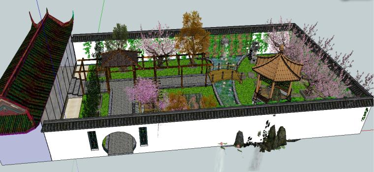 中式庭院景观设计模型下载