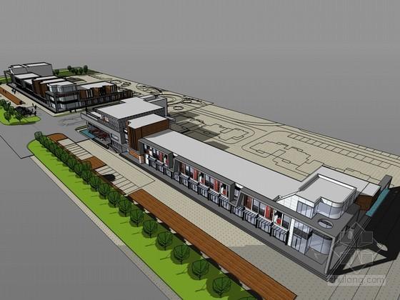 城市商业街SketchUp模型下载