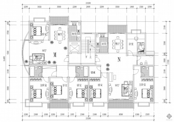 板式高层一梯两户户型图(161/148)