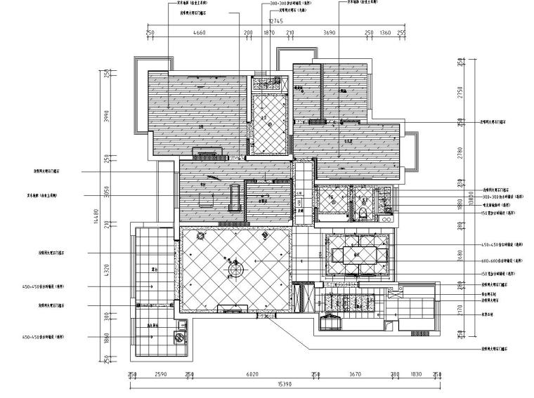 欧式风格阳光国际样板房详细施工图设计-地面布置图