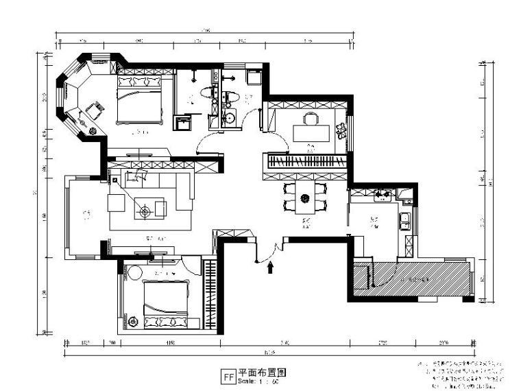 [新疆]现代工业风两居室设计施工图(含效果图)