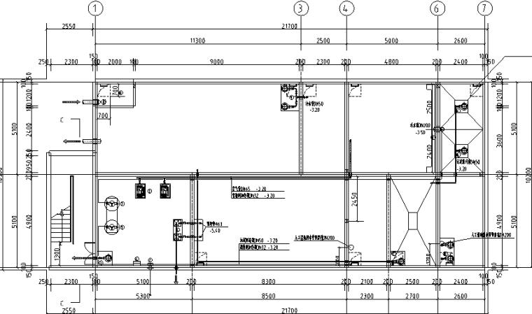 海口丹娜给排水施工图(含泵房大样,卫生间大样,中水处理系统,气体灭火布置图,太阳能热水屋顶平面图)_4