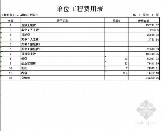 北京某酒店装饰工程预算书(2011-06)