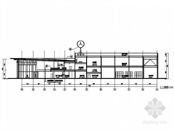 [河南]两层奔驰汽车4S店建筑施工图(甲级设计院)-两层奔驰汽车4S店建筑剖面图