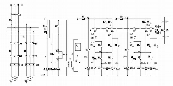 热水循环泵控制原理图(一用一备)