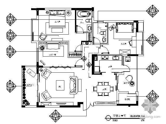 [广东]三室两厅样板间施工图