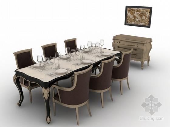 欧式餐桌椅组合3d模型下载