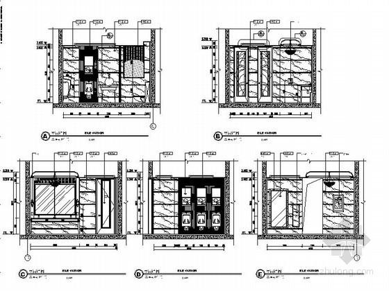 [山东]某大酒店公共卫生间立面图