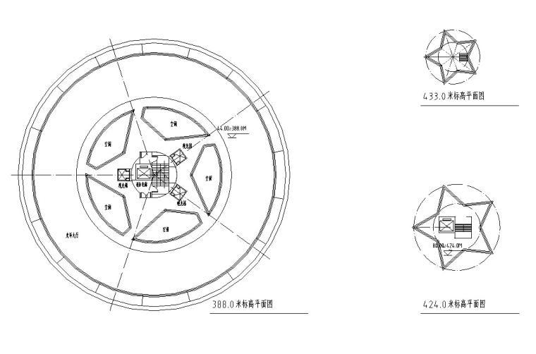 火箭型观光塔建筑设计方案初设图CAD-5