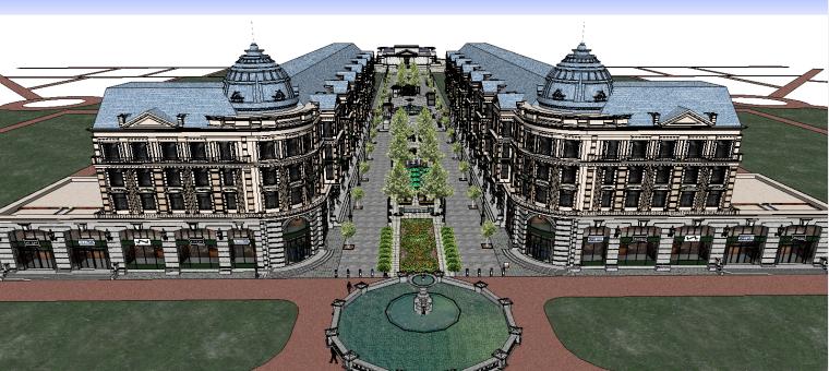 欧式商业街超精细模型