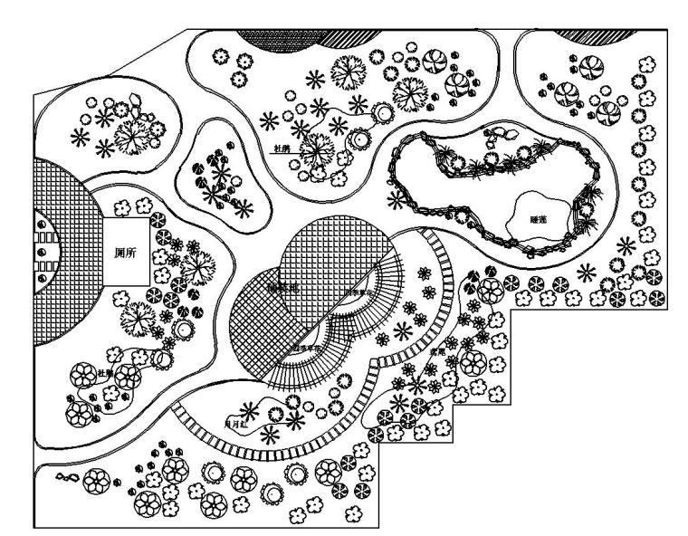 东山头村公园环境绿化施工图设计(CAD)