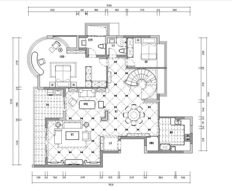 远辰山水一号居住区区复式楼施工图设计(CAD+实景图)