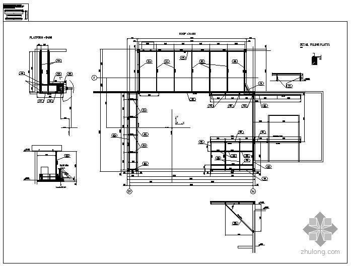 [英文]某镶板及支撑性钢构结构图