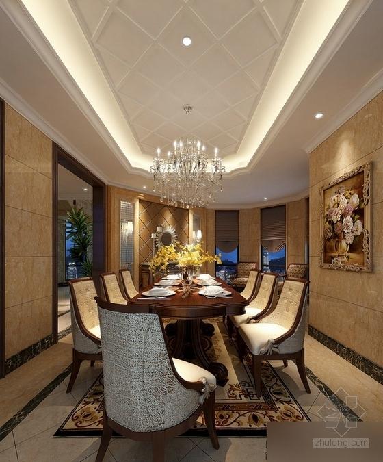 [常州]古典欧式三层别墅样板房装修图(含效果)餐厅效果图