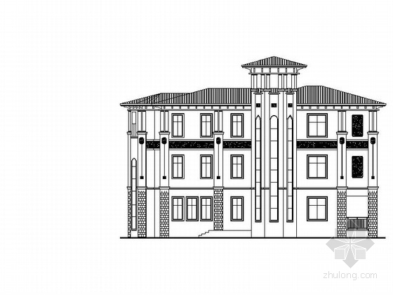 三层超豪华欧式别墅建筑设计施工图(含详细结构图 效果图)