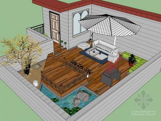 屋顶花园sketchup模型下载